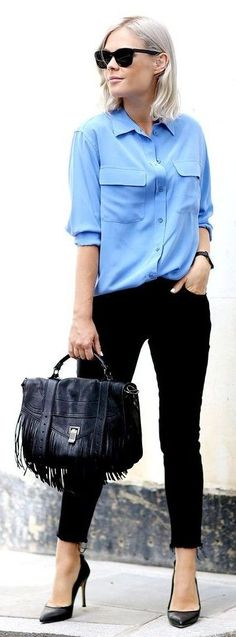 #business #casualoutfits #spring | Blue Shirt + Black Denim | We The People                                                                             Source