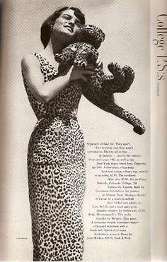 Crazy for kitty prints! Mademoiselle September 1950. #vintage #fashion #1950s