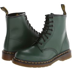 Dr. Martens 1460 (Green Smooth) Lace-up Boots (430 BRL) ❤ liked on Polyvore featuring shoes, boots, ankle booties, laced boots, genuine leather boots, lace up booties, metallic booties and leather booties