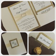 Gorgeous set of Gold glitter wedding invitation with ribbon and rhinestone and place card.