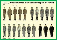 Uniforms of the border patrol, former East Germany Military Units, Military Art, German Uniforms, Military Uniforms, German Reunification, Ddr Museum, Border Guard, Military Insignia, East Germany