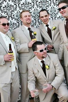 grooms men suits? I'm in love with the color! But instead of yellow, mint or tiffany blue