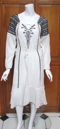 FREE PEOPLE WHITE 3/4 SLEEVE BOHO COTTON DRESS BLUE EMBROIDERY SZ S NWT #FreePeople #Sheath #Casual