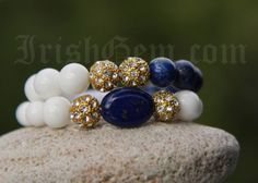 "Gemstone bracelet ""Côte d'Azur"" - Made of White Coral and Lapis Lazuli. Lapis Lazuli is a powerful aphrodisiac which brings harmony in relationships. Lapis Lazuli, Provence, Coral, Beaded Bracelets, Gemstones, Collection, Jewelry, Jewlery, Bijoux"