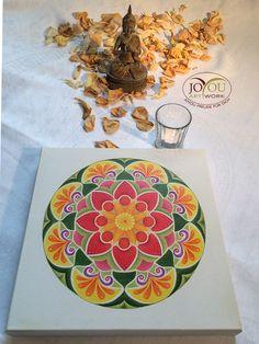 Handgemaltes Mandala mit Buntstiften auf Leinwand 30 x 30 cm Plates, Tableware, Artwork, Mandalas, Colouring Pencils, Glee, Canvas, Licence Plates, Dishes
