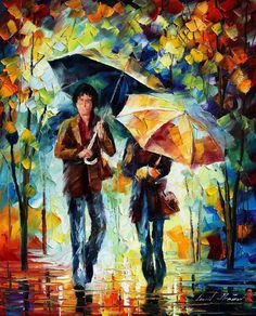 """""""Rainy encounter"""" by Leonid Afremov ___________________________ Click on the image to buy this painting ___________________________ #art #painting #afremov #wallart #walldecor #fineart #beautiful #homedecor #design"""