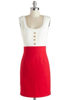 Come in Dandy Dress in Red - Red, Buttons, Casual, Twofer, Tank top (2 thick straps), White, Lace, Scoop, Woven, Mid-length