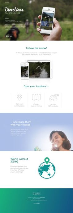 Directions App - Your GPS in the wild - html5, Apps, Responsive Design, Scrolling Site, Iphone, iOS, Website
