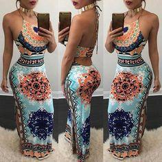 Ethnic Side Split Halter Drawstring Maxi Dress