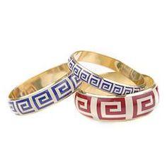 Greek key bracelets Kat Bangles from upperclasp.com.