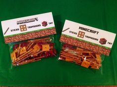 Minecraft Party Treat Bag Topper Labels, TNT Food Treat INSTANT DOWNLOAD  Perfect for school parties!!!      Trapdoor, TNT and Sticks.  Fill your goody bags with Twizzler bites, Cheez-Its and Preztel Sticks :)  Then affix the label with a little bit of double sided tape.  Some parents prefer to staple.   #minecraftpartyidea #minecraftfood