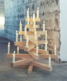 Candle and Wooden Christmas Tree