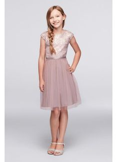 Sequined Lace Cap Sleeve Dress with Tulle Skirt SC131D07UHGK