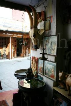 One of the many antique shops in Jew Town- Cochin, Kerala.  This area dates back to 700 BC when ancient Jewish traders came to Cochin in search of Kerala spices.