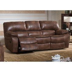 AC Pacific Leighton Collection Contemporary Upholstered Transitional  Reclining Sofa With Dual Recliners Brown U003eu003eu003e You Can Get Additional Details  At The ...