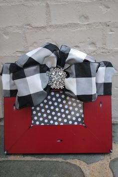 Red Distressed Frame with Black & White Silk Bow & Broach $48 plus shipping