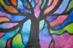 Piet Mondrian Trees  color value hue abstract stain glass effect with oil pastel