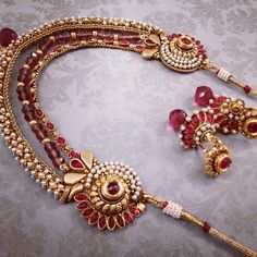 Pink polki set with pink beaded chain and gold finish #unique #traditional #cute #banglez #bridal www.banglez.com
