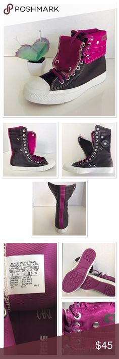 Fold over Converse So cool! They color is a shiny charcoal and purple! You can see it really good on picture 4. So many ways of wearing those! Shaft is 8 in up and 4.5 in down . New with box. The box does not have a lid . Converse Shoes Sneakers