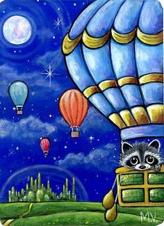 Original Raccoon Hot Air Balloons Wizard of Oz Emerald City Stars ACEO painting Balloon Painting, Emerald City, Wizard Of Oz, Hot Air Balloon, Raccoons, Fairy Tales, Whimsical, Cute Animals, Art Prints