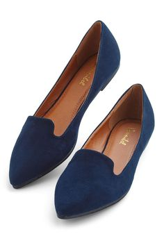 Tickled Tourist Flat. When youre on the road, you prefer to keep your style simple with versatile pieces like these velveteen navy loafers! #blue #modcloth