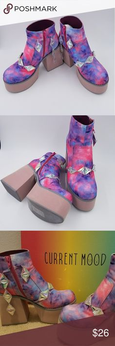 """""""Current Mood"""" Neon Pastel Ankle Platform Boots These are super fun ankle platform boots worn once (see photos) with fun dangling crystals on them. They are size 8 but fit up to size 8.5.  I am pretty sure I bought them from the website Dollskill. Current Mood Shoes Platforms"""