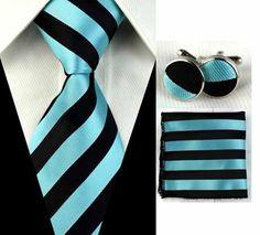 Tiffany Blue and Black Stripe Necktie Set JPM1265 – Toramon Necktie Company