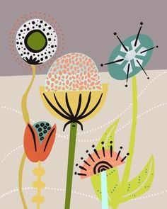 Modern botanical print by Birdsong Prints. Mid Century Wall Art, Mid Century Modern Art, Folk Art Flowers, Flower Art, Scandinavian Folk Art, Doodle, Modern Art Prints, Gadgets, Plywood Furniture
