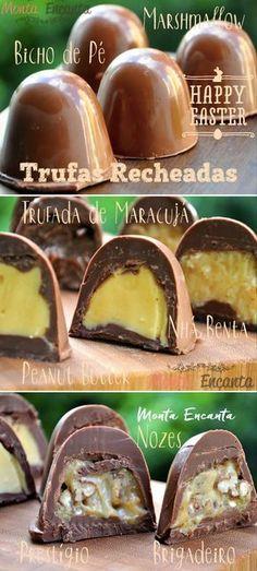 trufa de chocolate recheada de maracujá, brigadeiro, doce de leite, reeses, nozes, marshmallow, pasta de amendoim, nutella