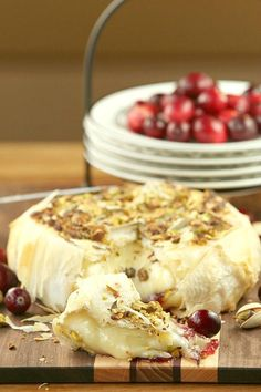 Pin it to your Appetizer Board - Cranberry Pistachio Stuffed Brie Wrapped in Phyllo