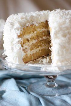 MOIST FLUFFY COCONUT CAKE : Butter + Flour + Baking soda + Salt + Buttermilk + Coconut milk + Vanilla extract + Sugar + Eggs + Egg whites + Cream of tartar + Corn syrup + Water + Coconut water + Grated coconut