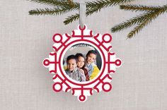 Neon Snowflake Holiday Ornament Cards by Baumbirdy | Minted