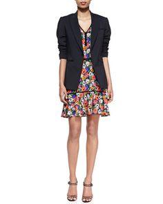 Cotton Scuba Single-Button Blazer & Hothouse Floral-Print Sleeveless Dress by Veronica Beard/Gretta Luxe