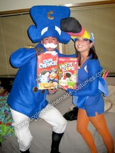 cereal coustume people!! froot loops and captin crunch!