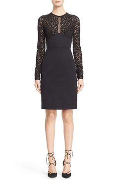 Roberto Cavalli Lace & Jersey Sheath Dress