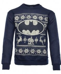 Product code: Officially-licensed Batman merchandise Warm sweater with a printed design Design features Batman, the Bat Symbol, two reindeer, and other festive decorations Rich navy blue sweater features a distressed design An exact replica of th Christmas Jumpers, Ugly Christmas Sweater, Holiday Sweater, Blue Christmas, Christmas Holidays, Warm Sweaters, Blue Sweaters, Xmas Sweaters, Batman Merchandise