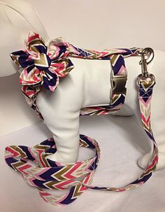 Dog Harness with Flower or Bow Tie and Leash Set by BeasUnique