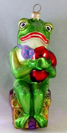 RARE Christopher Radko FROG O' MY HEART Christmas Ornament