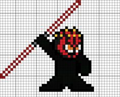 Darth Maul Perler Bead Pattern Melty Bead Patterns, Hama Beads Patterns, Beading Patterns, Pearler Beads, Fuse Beads, Minecraft Quilt, Video Game Crafts, Pixel Art Templates, 8 Bits