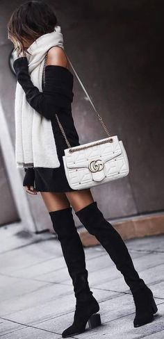 #winter #outfits white Gucci leather crossbody bag