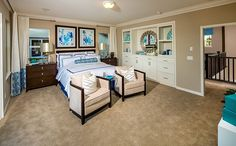 Upstairs, the luxurious master bedroom suite include private bath with walk-in closet, soaking tub, separate shower and beautiful tile accents. - Residence 2 at Cambridge at Roripaugh Ranch in Temecula, CA