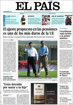 Los Titulares y Portadas de Noticias Destacadas Españolas del 9 de Junio de 2013 del Diario El País ¿Que le parecio esta Portada de este Diario Español?