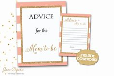 Every new mom needs an advice for family and friends, so add these Advice For Mom To Be printable and a sign to your baby shower. You can set them up by the gift table so every guest can see them and fill them out with a piece of advice.  INSTANT DOWNLOAD - Advice for Mom to Be Card and Sign - Pink Stripe Gold Glitter. Find more coordinating printables at JanePaperie: https://www.etsy.com/shop/JanePaperie