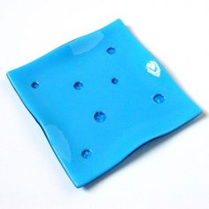 Turquoise Blue Fused Glass Plate with Textured Polka Dots, 7 Inch,