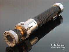 """Corran Horn's infamous """"speeder bike handle"""" lightsaber by Rob Petkau at Genesis Custom Sabers."""