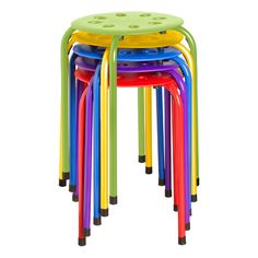 Assorted Color Plastic Stack Stool ($8.88 each in quantities of 5)- would love for tables around my room