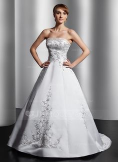 Ball-Gown Strapless Court Train Satin Wedding Dress With Embroidery Sash Beading (002014809) - JJsHouse