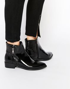Vero+Moda+Quilted+Patent+Ankle+Boots