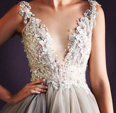 Paolo Sebastian gown, plunging v-neckline, floral and beading, tulle skirt, taupe and ivory, wedding gown, mesmerizing detail, couture wedding gowns
