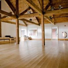 Love the beams - beautiful space for a yoga studio